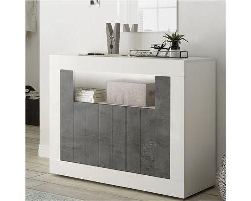 Buffet 110 cm moderne blanc et gris foncé SERENA 6 - Blanc - L 110 x P 42 x H 86 cm