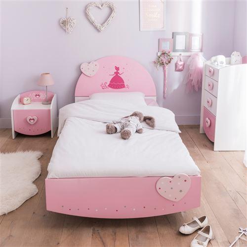 Lit enfant féérie rose et blanc perle LT125 90x190