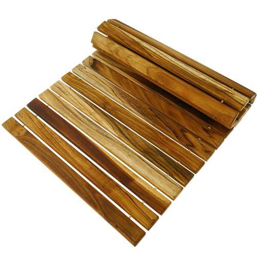 Caillebotis de douche en bois de teck certifié 60 x 40 cm rectangulaire et à rouler