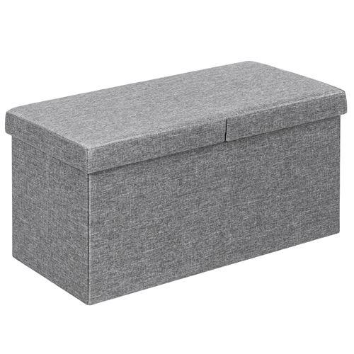 coffre de rangement giantex gris 76 x 38 x 38 cm pliant de 80L, chargement de 150kg, pour séjour, chambre à coucher, entrée etc.