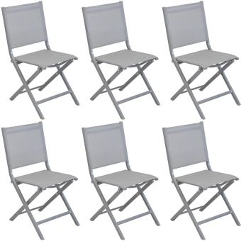 Proloisirs - Chaises pliantes en aluminium brossé Thema (Lot de 6)