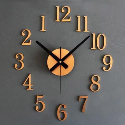 Mode Accueil Retour Dans True Time 3D Stereo Diy Métallique Horloge Murale Gd Or PL069