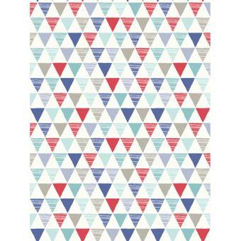 Papier Peint Geometrique Bouffon Rouge Bleu Decors Et Stickers