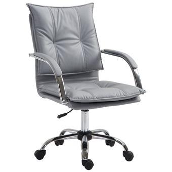 bureau confort haute assise rembourrage Fauteuil chaise de cuir accoudoirs manager simili gris grand densité dossier bf7IvY6gmy