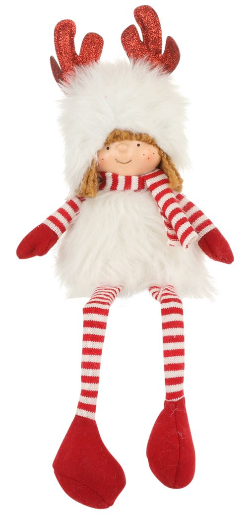 House of Seasons poupée christmas girl junior 38 cm textile rouge/blanc