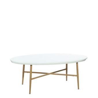 Table Basse Ovale En Mdf Et Metal Blanc Pieds Aspect Bois Naturel