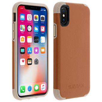 coque iphone x cuir marron