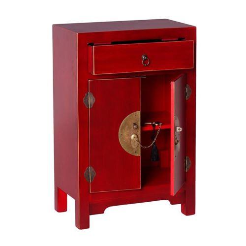 Confiturier 2 portes, 1 tiroir Rouge Meuble Chinois - PEKIN