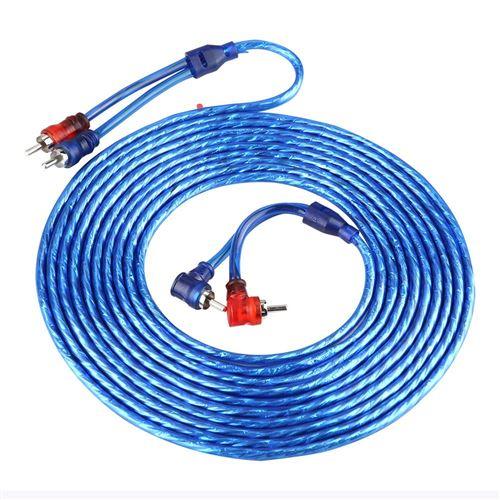Câble audio RCA de voiture automatique 5m ultra flexible Transparent bleu
