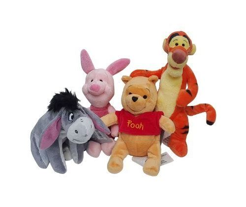 Lot de 4 peluches Winnie l'ourson Disney - Ensemble pouf Winnie, Tigrou, Bourriquet et Cochon