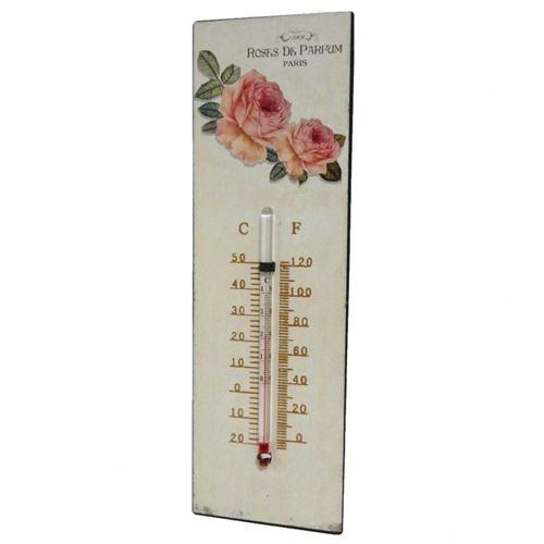 L'Héritier Du Temps - Thermomètre mural décoratif en celsius et farenheit ou à poser motif 'floral' à l'ancienne en fer et papier vernis 0,5x8x25cm