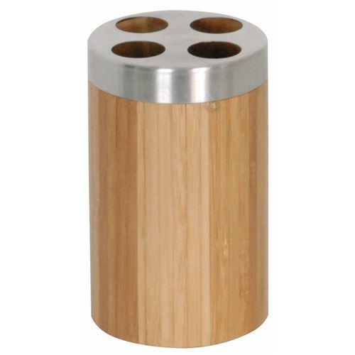 Porte brosses à dents en bambou et inox BAMBOU