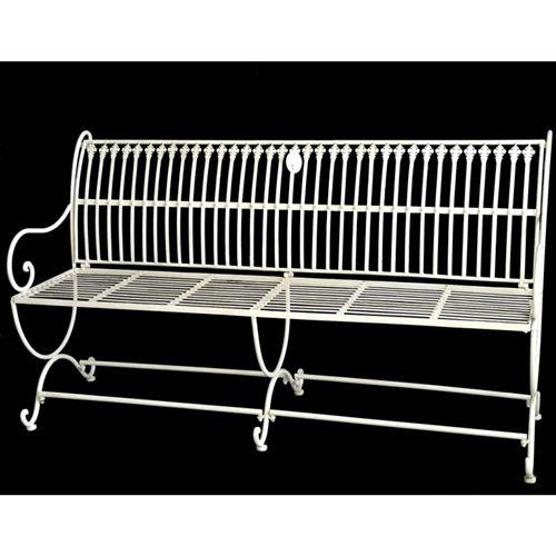 L'Héritier Du Temps - Banc de jardin banquette en fer blanc 3 places personnes fauteuil de jardin mobilier de qualité 55x84x153cm