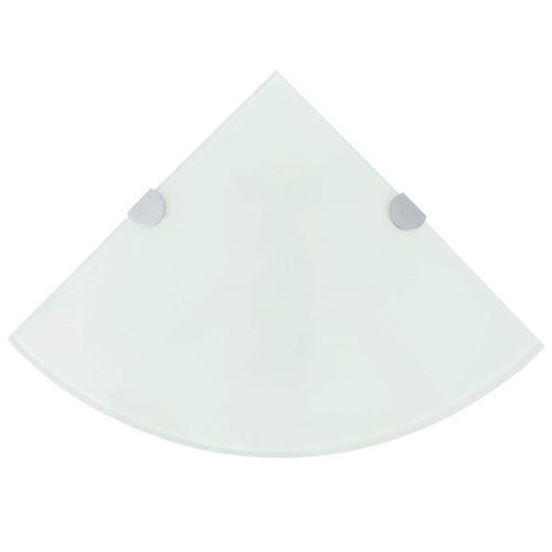 VidaXL Étagère d'angle salle de bain avec support Fond en verre plateau en verre blanc 35 x 35 cm