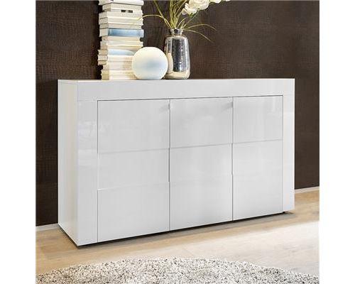 Bahut blanc laqué brillant design OKLAND 2 - Blanc - L 138 x P 42 x H 84 cm