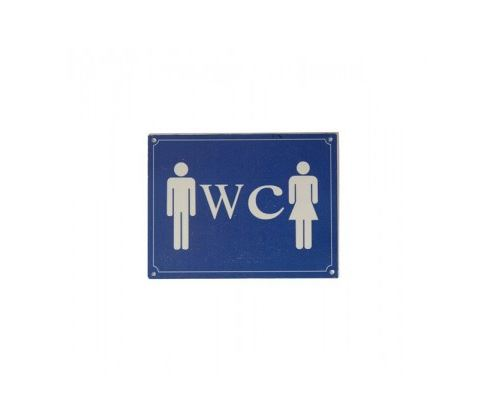 Plaque de Porte Signalétique Toilettes Bleu et Blanc - Longueur 13cm