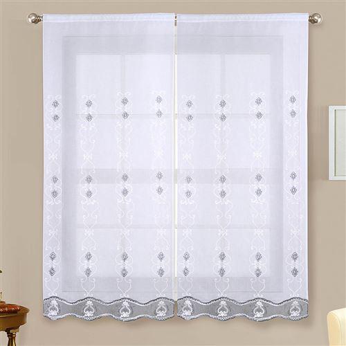 Paire de vitrages brillants - gris - 2x60x160cm