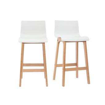 tabouret de bar design bois et blanc 65cm lot de 2 new surf achat prix fnac. Black Bedroom Furniture Sets. Home Design Ideas