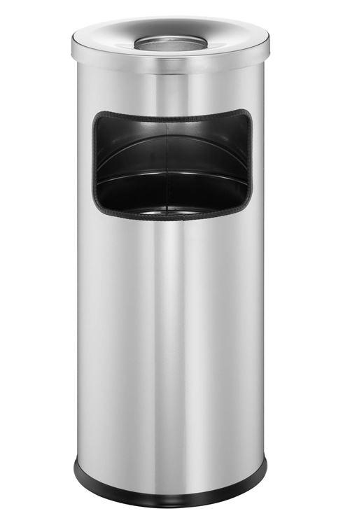 Durable 333223 Corbeille métal avec cendrier cendrier sur pied sûr, auto-extinguible avec poubelle 17l et cendrier 2l, argent