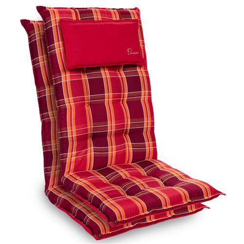 Coussin de chaise de jardin -Blumfeldt Sylt -120 x 50 x9 cm -2 pièces -Carreaux Rouges