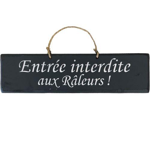 Plaque décorative bois - Entrée interdite aux Râleurs ANTHRACITE