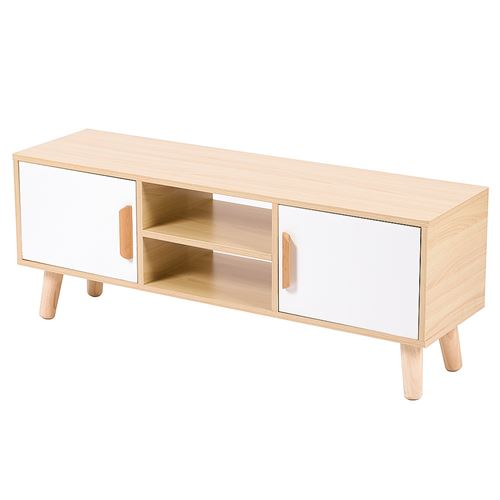 Meuble TV OOBEST® Style scandinave avec 2 Portes et 2 niches, chêne et blanc