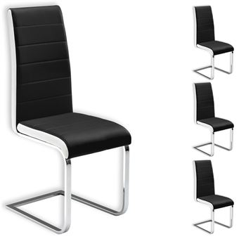 lot de 4 chaises evelyn simili cuir noir blanc achat prix fnac - Chaise Simili Cuir