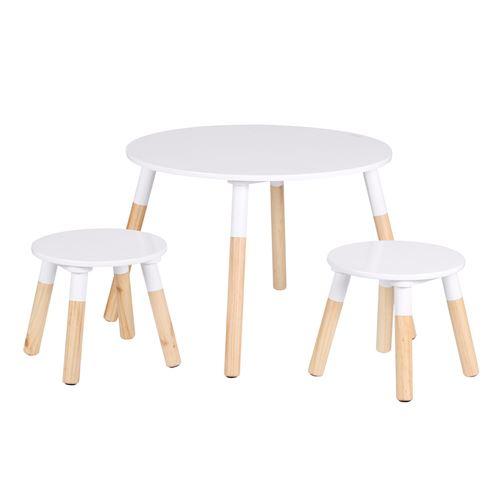Toilinux - Table Dream et ses deux tabourets pour enfants - Blanc et Bois - Dream