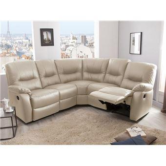 sélection premium 06ddb f8efe Canapé d'angle modulable 5 places 2 relax manuel en cuir ...