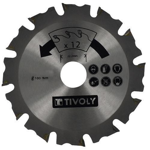 Lame de Scie à Bois Ø180mm TIVOLY 12 dents alesage Ø22,22mm Acier Carbure Spécial Meuleuse pour tout type de bois