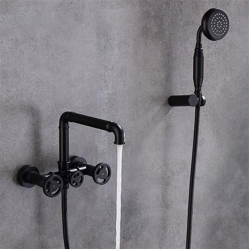 Robinet mélangeur de bain mural style rétro - Noir
