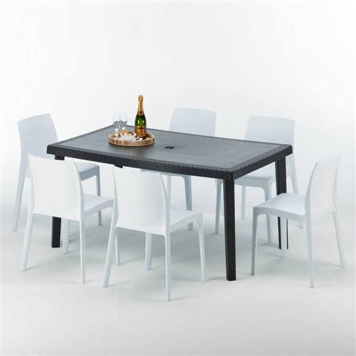 Table rectangulaire et 6 chaises Poly rotin colorées 150x90cm noir, Chaises Modèle: Rome Blanc
