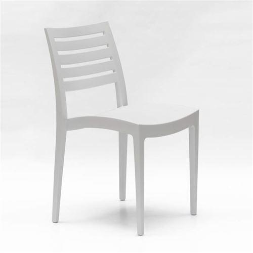 Chaise empilable polypropylène pour maison endroits publics et extérieur Grand Soleil Firenze, Couleur: Blanc
