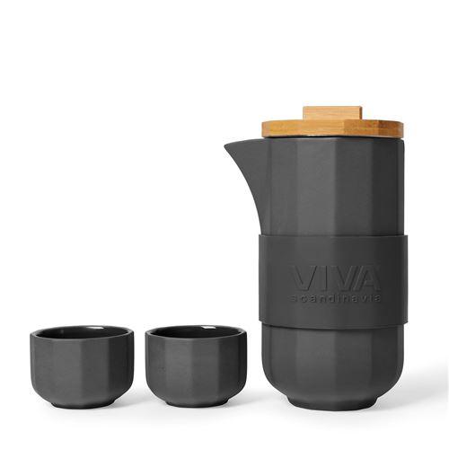 Viva Scandinavia (V77245) Théière design en porcelaine avec 4 tasses à thé (70 ml), noire
