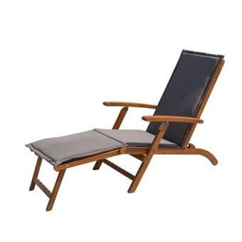 Finlandek - chaise longue en eucalyptus avec matelas gris ...