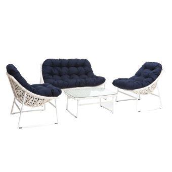 Salon de jardin résine tressée blanc et bleu foncé avec table basse COMFY