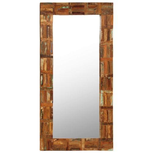 Miroir Mural Miroirs en verre + bois massif Miroir Décoration pour Salon miroir Salle de Bains Wodden miroirs 60 x 120 cm
