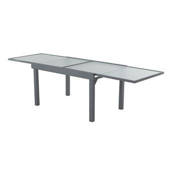 Table de jardin extensible en aluminium et verre longueur ...