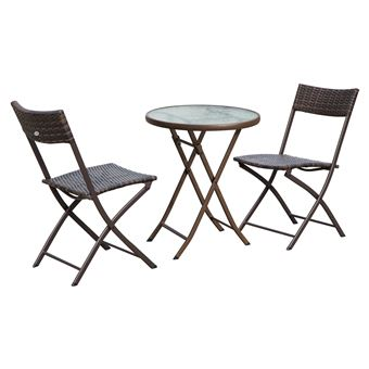 Ensemble salon de jardin 2 places table ronde pliable plateau verre ...