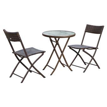 Ensemble salon de jardin 2 places table ronde pliable ...