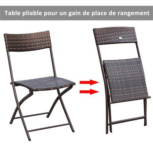 Ensemble salon de jardin 2 places table ronde pliable plateau verre ...