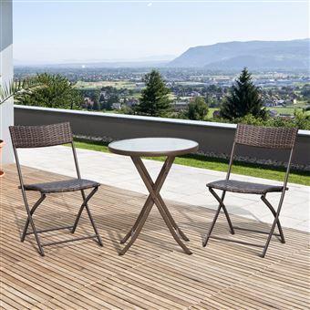 55€90 sur Ensemble salon de jardin 2 places table ronde pliable ...