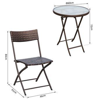 56€90 sur Ensemble salon de jardin 2 places table ronde pliable ...