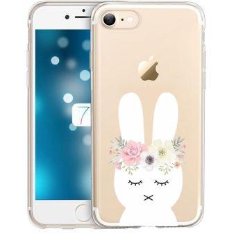 Coque Iphone 7 PLUS iphone 8 PLUS lapin fleur rabbit cute kawaii transparente