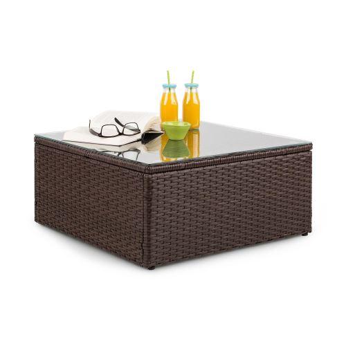 Blumfeldt Theia Table de salon de jardin élégante avec plateau en verre - design polyrotin tressé marron
