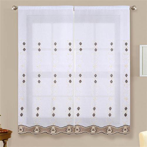 Paire de vitrages brillants - marron - 2x60x160cm