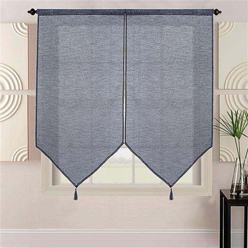 Paire de vitrages uni - Noir, 2x60x220cm