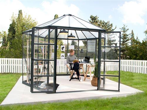 Kiosque de jardin en polycarbonate OASIS, Hexagonal 8,6m², 3,16x3,63x2,89m, Anthracite