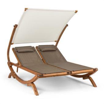 blumfeldt sonnendeck chaise longue transat avec double auvent rglable coussins blanc mobilier de jardin achat prix fnac - Chaise Longue Transat