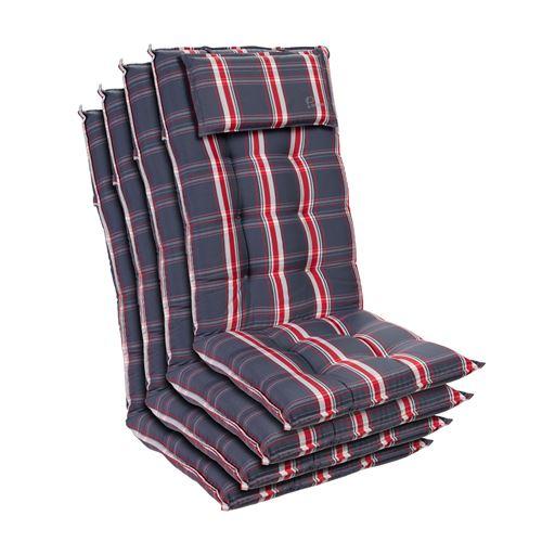 Coussin de chaise de jardin -Blumfeldt Sylt -120 x 50 x9 cm -4 pièces -Gris / Rouge